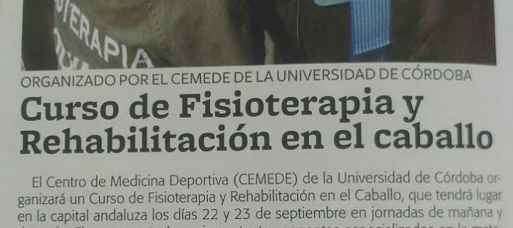 Curso de Fisioterapia Y Rehabilitación en el caballo. Córdoba septiembre 2016